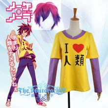 No Game No Life Shiro  Cosplay Costume Yelloween Printed Shiro T Shirt with Wig Asian Size (S-XXL ) No Regular Size s kan no hornstuck wve 52