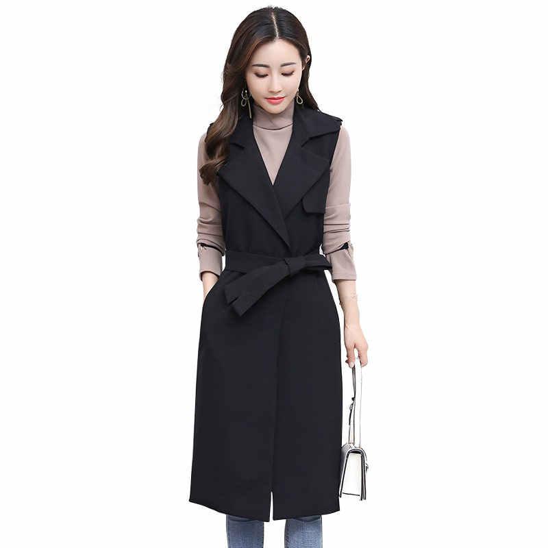 Sonbahar Yeni Kolsuz Uzun Takım Elbise Yelek Ceket Kadın Colete Feminino Siyah Ofis Yelek Ceket Kadınlar Zarif Hırka Yelek C4743