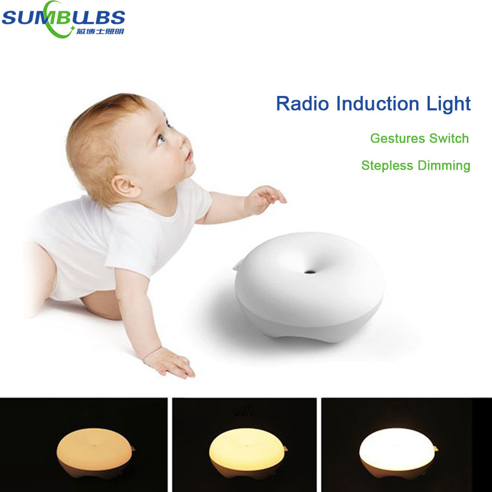 Newest ! Creative Design Wireless Sensitive Control LED Night Lights Eye Protecting Bed Reading Lamp Bulb with 3 Ligthing Modes yimia creative 4 colors remote control led night lights hourglass night light wall lamp chandelier lights children baby s gifts