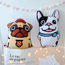 HOME FIRST New creative vivid bulldogs sandy dog pillow print shape cushions soft plush for the sofa seat50*32CM
