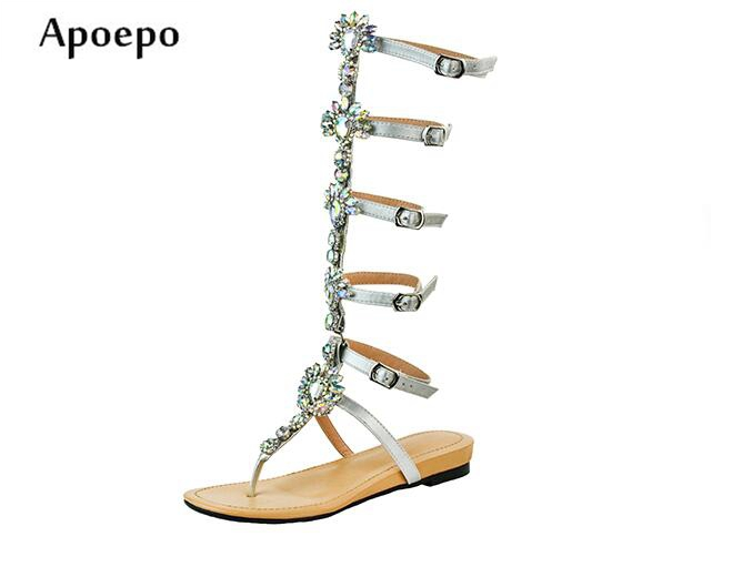 d0fbdd4ecc67 New-2018-Summer-Crystal-Embellished-Flat-Sandal-Silver-Leather -Buckle-Strap-Gladiator-Sandal-Flower-Rhinestones-Shoes.jpg