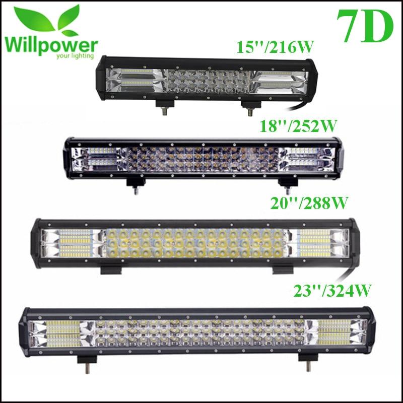 15 18 20 23 216W 252W 288W 324W Tri Row LED Light Bar Combo Beam For