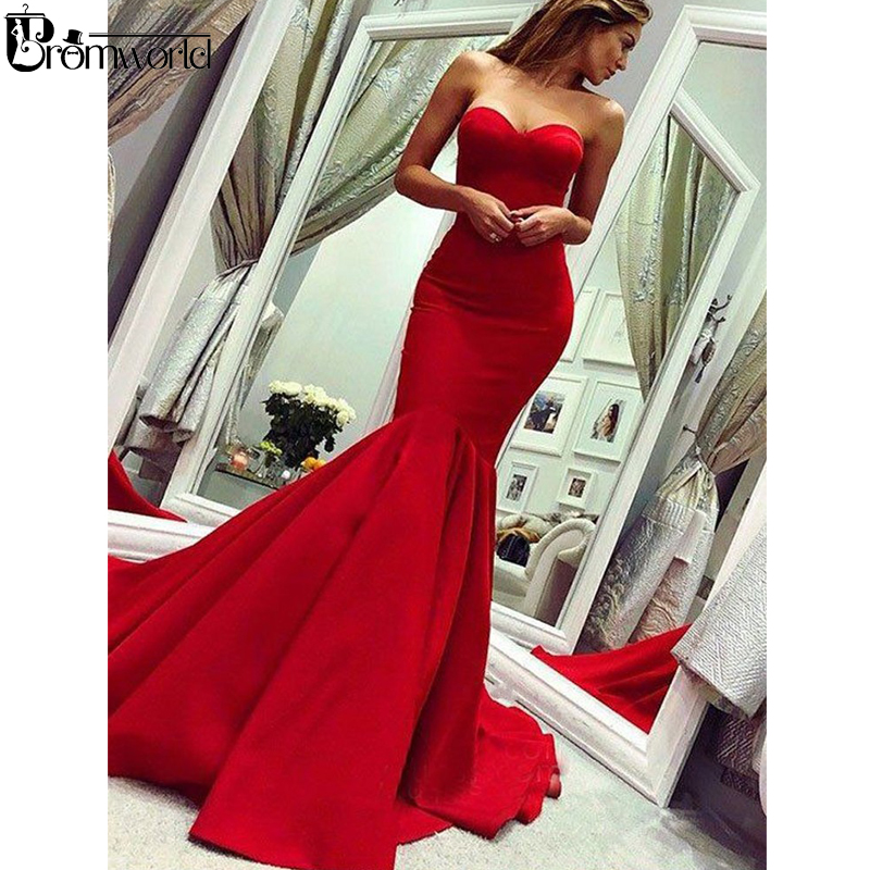 Simple Red   Prom     Dresses   2019 Sweetheart Satin Party Maxys Long   Prom   Gown Custom Made Mermaid Evening   Dress   robe de soiree