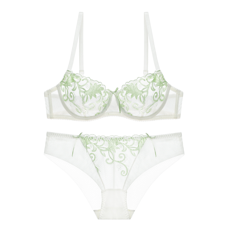 Ningsige Women Transparent Lace Bra Set Deep V Lingerie Ultra-thin Bra Boxers Set 2 bra sets/lot