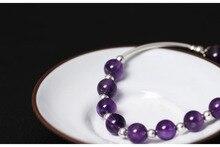 XlentAg 925 Sterling Silver Natural Amethyst Beads Bracelet WomenS DIY Jewellery Elastic Rope Pulseira Feminina GB0027