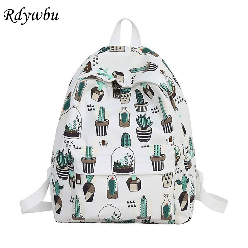 Rdywbu Graffiti Cute Cactus Cat Printing Backpack Teenager Big Capacity School Bag Girls Casual Travel Bag Mochila Rucksack B234