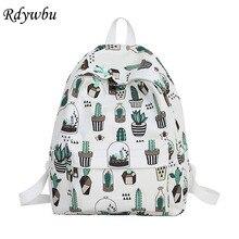 4e2551851 Rdywbu Graffiti lindo gato Cactus de impresión Mochila adolescente de gran  capacidad bolso de escuela de