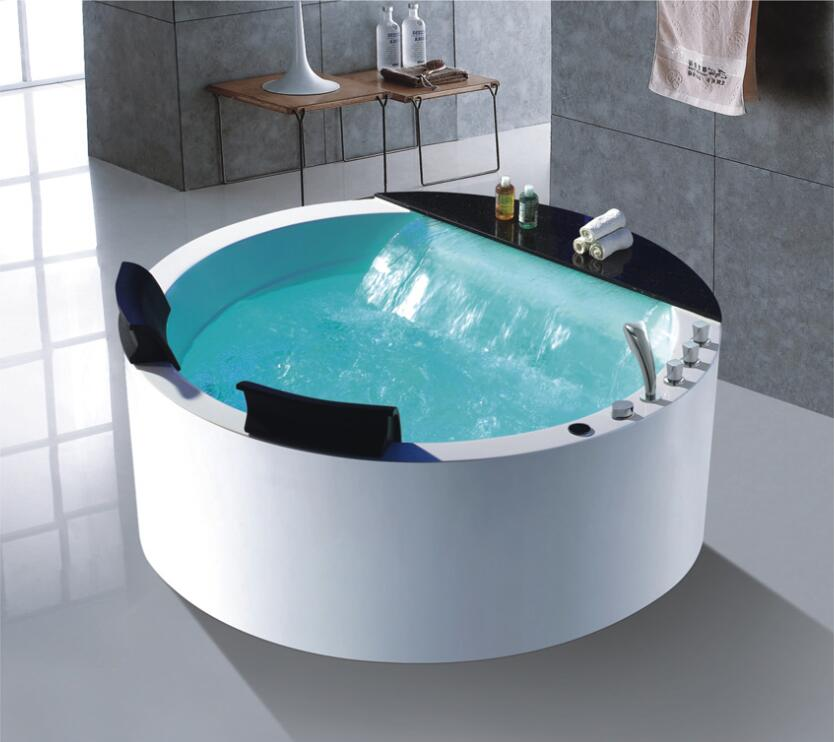 1500mm Round Whirlpool Bathtub Acrylic Hydromassage Waterfall Double People Tub NS1106