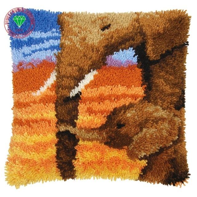 Elephant Pillow Cushion Decor Carpet Latch Hook Rug Kits Pillowcase Home Crochet Hooks