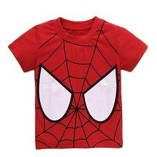 summer tops 2016 wholesale cartoon spider man super hero tops 1-7Y kids boys baby girls short sleeve tops