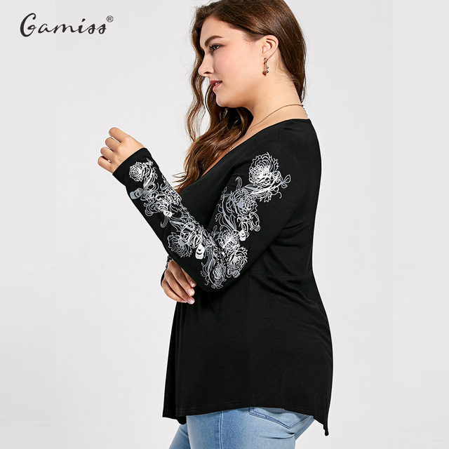 Women Sexy V Neck Floral Pattern Long Sleeve Draped T-Shirt Casual Femme Loose Tops Tees Plus Size XL-5XL
