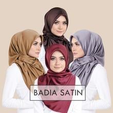 Одна часть однотонные блестящие хиджаб шарф ислам шаль Глава Обертывания мягкая шелковая шаль Длинные мусульманский хиджаб Малайзии Атлас хиджабы