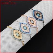 BOROSA 32x20mm CZ Micro Pave Women Bracelets Evil Eyes Bracelet Jewelry Adjustable Chain Macrame Bracelet WX347