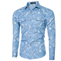 WSGYJ Men Shirt Luxury Brand 2018 Male Long Sleeve Shirts Casual Mens Tie-Dyed Denim Slim Fit Dress Shirts Mens Hawaiian 2XL 1