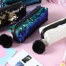 купить School Pencil Case Reversible Sequin Hairball Makeup Bag For Girls Student Stationery Supplies по цене 112.68 рублей