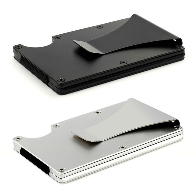 Car Parking Card Storage Bag Anti-magnetic Card Aluminum Bank Credit Name ID Card Holder Wallet Metal Mini Money Clip