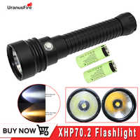 XHP70 Diving Flashlight 4000LM Underwater Torch XHP70.2 LED Waterproof Lamp White/Yellow Light + 26650 Battery + Charger