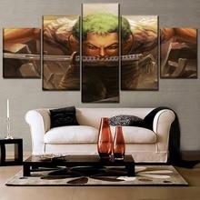 One Set 5 Pieces Anime Piece Swordsmen Zoro Roronoa Painting Canvas Print Modular Picture Modern Wall Art Home Decor Bedroom