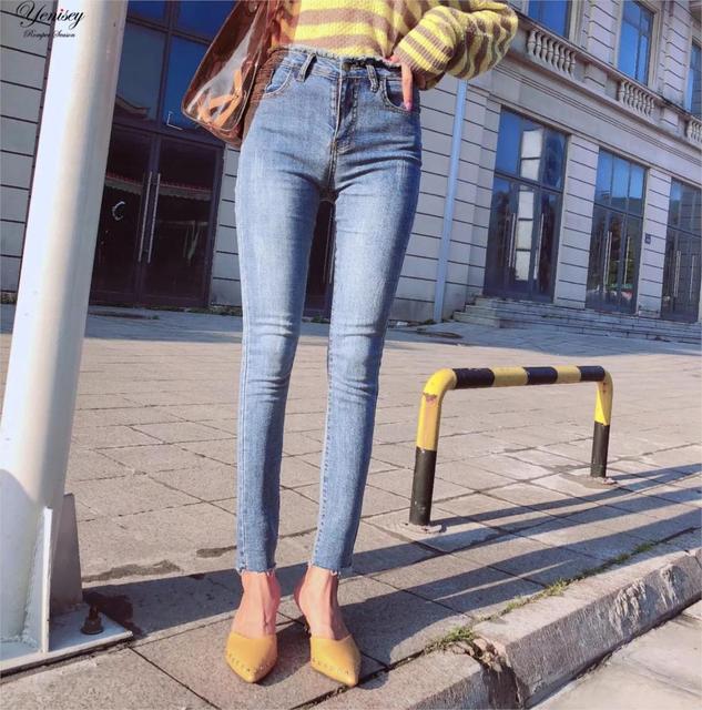 E0810T16 אירופה ובארצות הברית סתיו 2018 חדש פלאש עיצוב גבוהה אלסטי מותניים שחוק ג 'ינס ב 6275