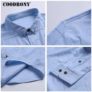 Image 5 - Рубашка COODRONY мужская с длинным рукавом, деловая повседневная одежда, хлопок в клетку, 2019