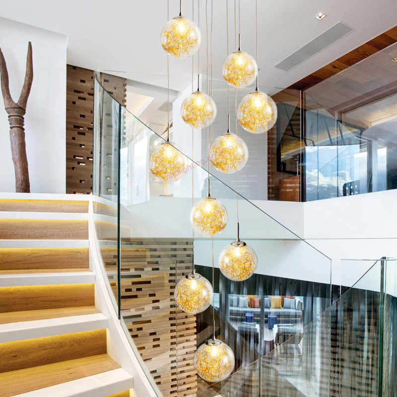 Art deco custom villa circular hand blown round glass spiral hanging high ceilings staircase modern lights for home chandelier