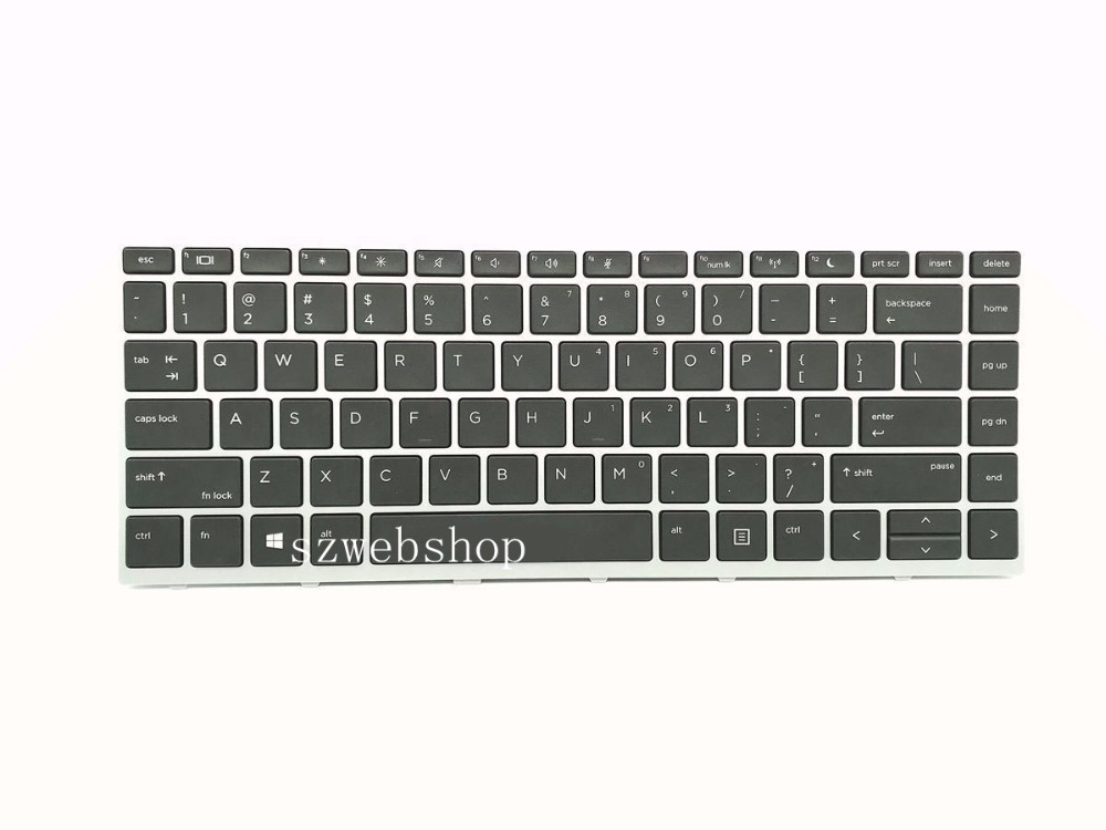 New for <font><b>HP</b></font> Probook <font><b>430</b></font> G5 440 G5 laptop US <font><b>keyboard</b></font> non-backlit silver frame image