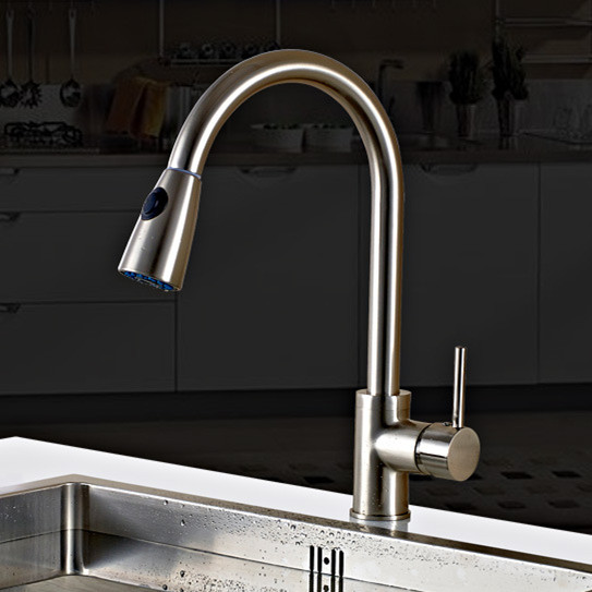 Free shipping Pull out kitchen sink faucet with lead free solid brass kitchen mixer tap of hot sell water tap at 2016 free free free at last