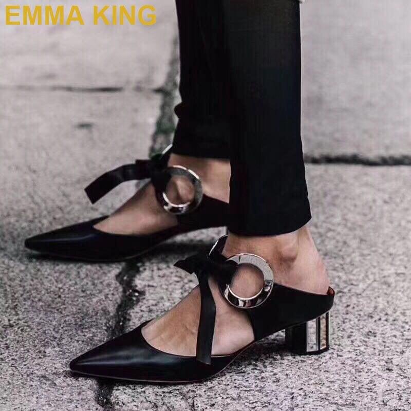 dd36e0dee9e56f Mules Talons Véritable Pantoufles Piste Épais Sandales Pointu 2019 Bout Mode  Noir Cuir white Boucle En Chaussures Femmes D'été xq0wX7Svw