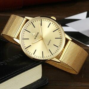 Image 4 - WWOOR Homens Simples Relógio De Quartzo de Ouro Fino Malha Ultra finos Homens de Aço Relógios de Luxo Da Marca À Prova D Água Masculino Relógio de Pulso de Ouro relógio