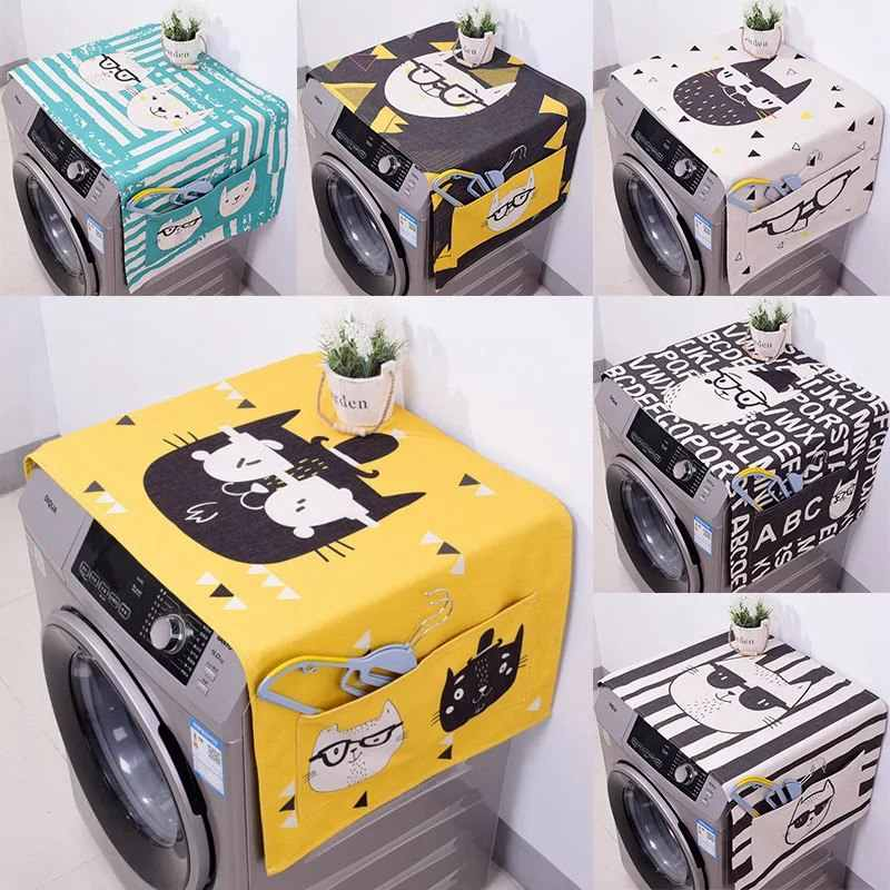 Geometric Fridge Dust Cover Washing Machine Cover Towel Winson Cat Thick Cotton Linen Refrigerator organizer Kitchen Products