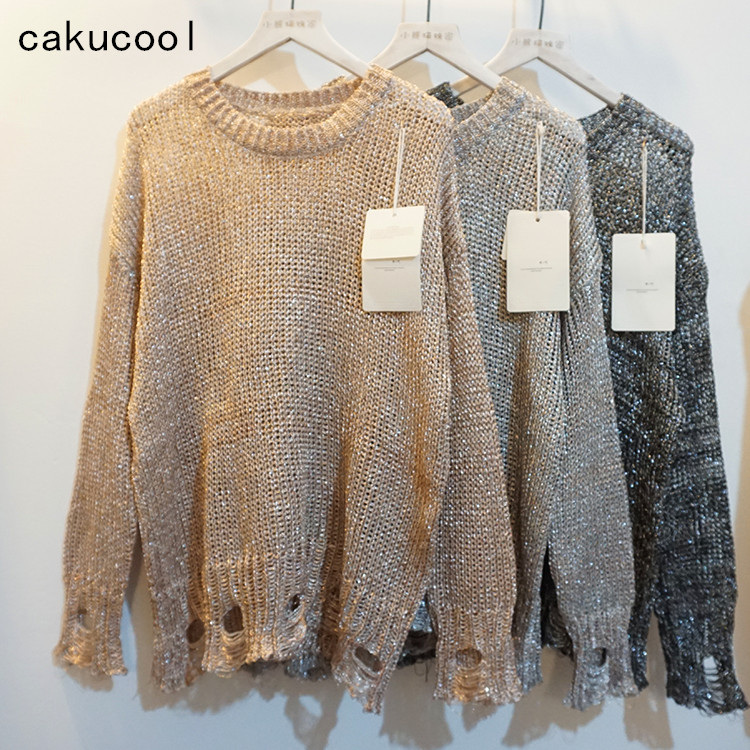 Cakucool New Women Hollow Out Holes Sweater Spring Transparent Jumper Gold Lurex Bling Metalic Loose Knit Shirt Sweater Lady charter club new blue sky women s medium m cable knit crewneck sweater $59 359