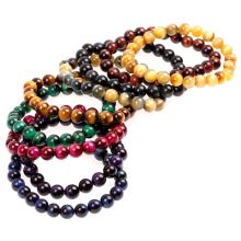 Trendy Colorful Tiger Eye Stone Bracelet Men Women 8 10mm Semi-precious Beaded Handmade Healing Wrist Jewelry