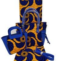 african Wax Handbag Set African Prints Bag With Real Dutch Wax Fabric 6 Yards 100% Cotton For Women's Bag H1903250