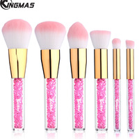 6 Pieces Face Cosmetic Brush Kit Rhinestone Acrylic Handle Of Makeup Brushes For Powder Foundation Eyebrow