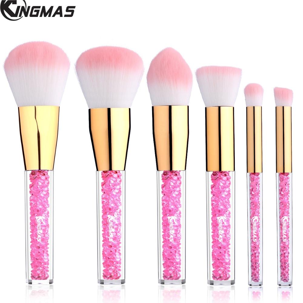 6 Pieces Face Cosmetic Brush Kit, Rhinestone Acrylic Handle of Makeup Brushes for Powder Foundation Eyebrow Blush Concealer