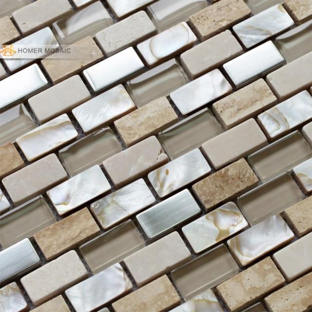 El envío gratuito! piedra de color crema, vidrio mezclado mosaico de ...