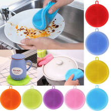 Hot Practical Multifunction Silicone Antibacterial Silicone Dish Scrubber Portable Cleaning Brush Dishwash(China)