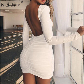 Nadafair Backless Long Sleeve Wrap Bodycon Low Cut Sexy Club Dress Women White Black Mini Party Dress 1