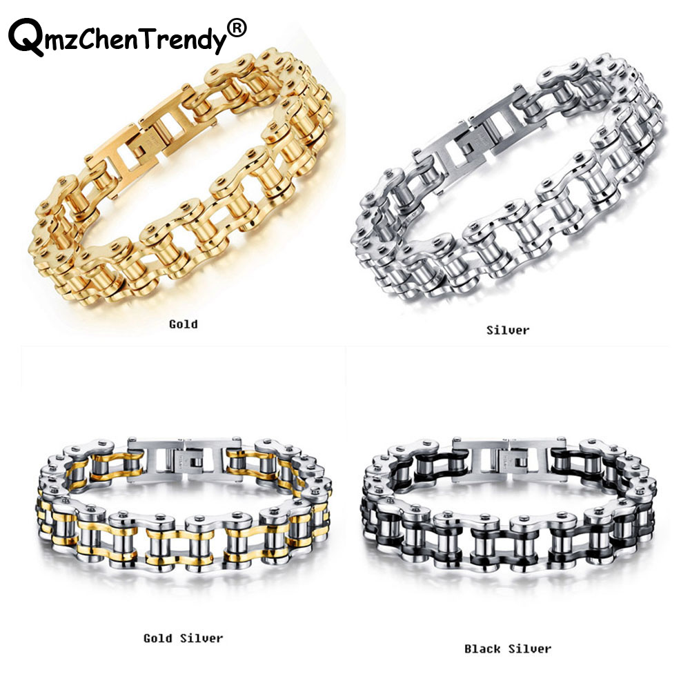 Stainless Steel Mens Punk Bangle Biker Bicycle Chain Cuff Motorcycle Bracelet Bangles Trendy Jewelry Brace lace 21.5cm*1.2cm
