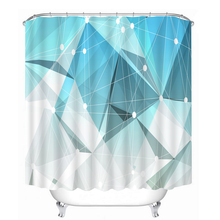 3D Simple Lines Flowers Pattern Shower Curtains Bathroom Curtain Waterproof Thickened Bath Customizable