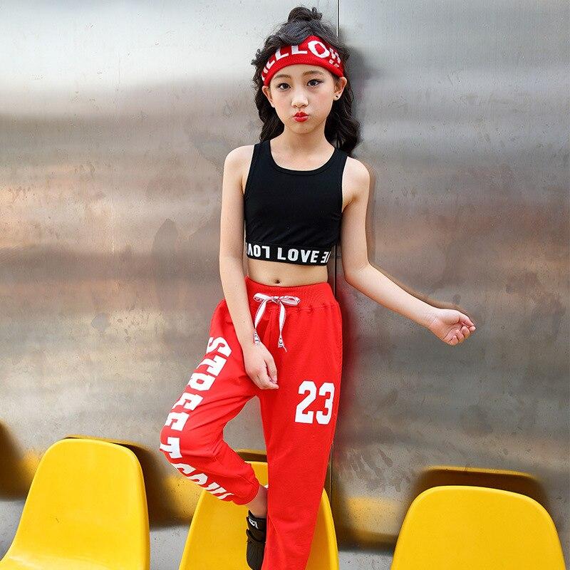 цена Summer Children Clothing Girls Jazz dance Costumes Kids Hip Hop Clothes Dance Wear Girls Street Dance Children Sport Suits H52 онлайн в 2017 году