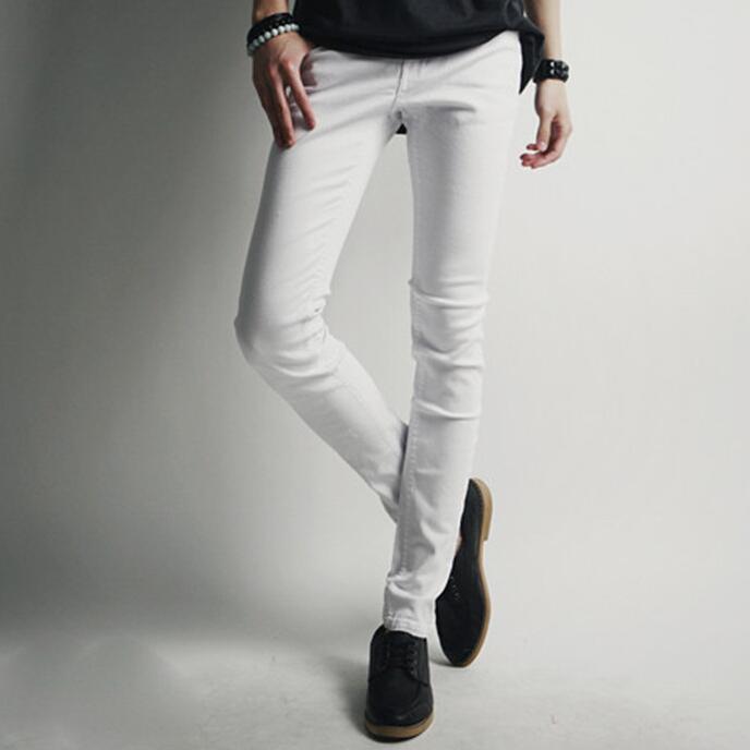 Men's white stretch skinny jeans