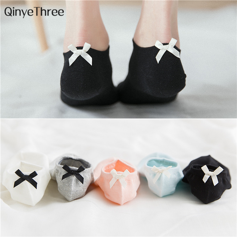 Summer Spring Soft Boat Socks Chic Female College Wind Pure Cotton Sock Heel With Small Bow Harajuku Japanese Sweet Girls Sokken