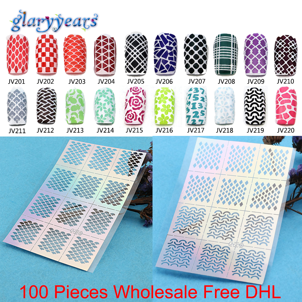 New 100 sheets nail stickers 20 designs hollow nail art tools new 100 sheets nail stickers 20 designs hollow nail art tools airbrush stencils giltter template nail decals wholesale free dhl in stickers decals from prinsesfo Gallery