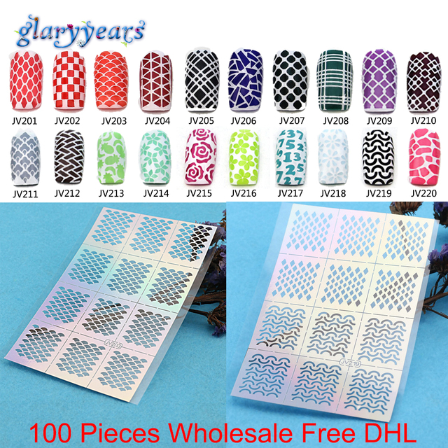 New 100 Sheets Nail Stickers 20 Designs Hollow Nail Art Tools ...
