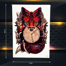Hot Temporary Tattoo Women Body Art Arm Sleeve Tatoo 21x15CM Sexy Red Fox Compass Clock Designs Fake Flash Henna Tattoo Stickers