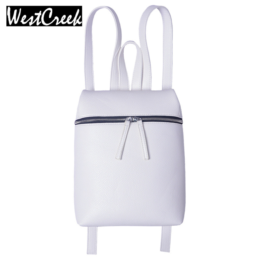 Westcreek Brand Simple Designer Small Backpack Women White and Black Travel PU Leather Backpacks Ladies Female