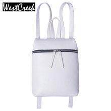 Westcreek Марка Простой Дизайнер Небольшой Рюкзак для Женщин Белый и Черный Путешествия Кожа PU Рюкзаки Дамы Женщины Bagpack Backbag