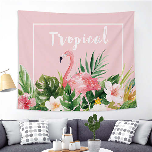 Xyzls Flamingo Deco Wall Hanging Tapestry Tropical Plant Hanging