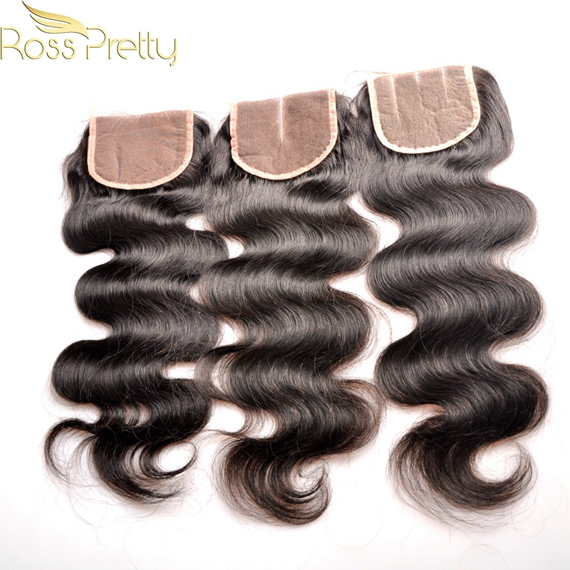 1pcs Ross Pretty Hair Quality Lace Closure Brazilian Remy Hair closure human hair Brazilian body wave Middle part and 3Part